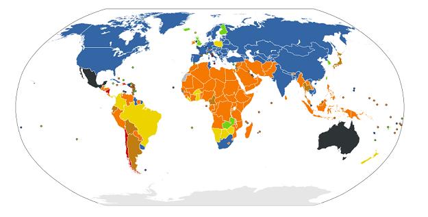 En los países de color azul, sólo se necesita la voluntad de la mujer para acceder al aborto. En los países de color rojo, el aborto es ilegal en cualquier caso. Ver gráfico completo en: http://es.wikipedia.org/wiki/Legislaci%C3%B3n_sobre_la_pr%C3%A1ctica_del_aborto_en_el_mundo