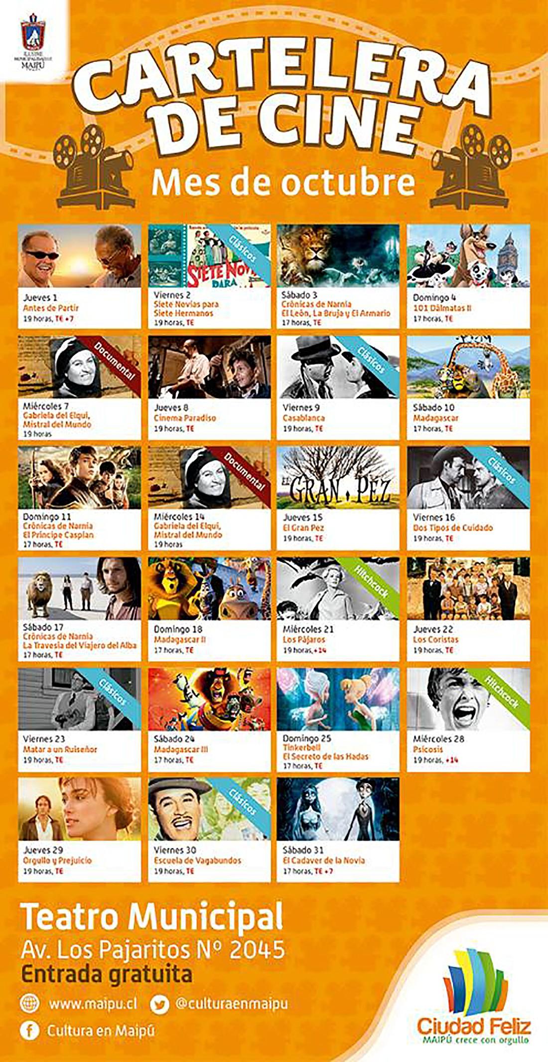 Cl sicos del cine en la cineteca del teatro municipal de maip - Cartelera cine de verano aguadulce ...